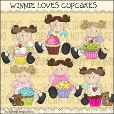 Winnie Loves Cupcakes 1 - Clip Art by Cheryl Seslar