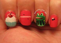 Frog eating a cupcake...on NAILS.  haha