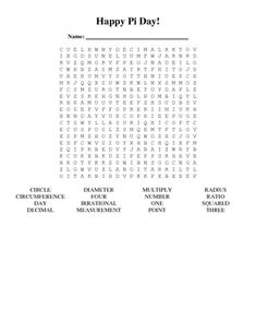 This FREE worksheet contains a simple, black-and-white word search of words related to pi: circle, circumference, day, decimal, diameter, four, irr...