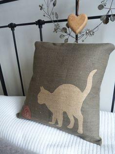 hand printed charcoal cat cushion cover by helkatdesign on Etsy, $74.00