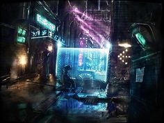 cyberpunk environment design concept art inspiration idea street slum urban district environment art illustration