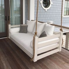 Lowcountry Swing Beds The Ion Porch Daybed Swing - Modern Farmhouse Front Porches, Farmhouse Porch Swings, Porch Bench, Diy Porch, Porch Ideas, Pergola Ideas, Patio Ideas, Building A Porch, House With Porch
