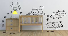 Kitten themed baby room http://www.dezignwithaz.com/oops-kitty-nursery-decals-p-8091.html
