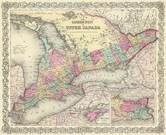 International Maps - CANADA WEST & UPPER BY J.H. COLTON 1855 MAP