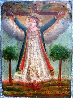 Santa Liberada, tin retablo, ca. 1900, Zacatecas, Mexico.