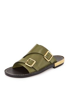 Double-Monk Slide Sandal by Chloe at Neiman Marcus. Sandals 2014, Summer Sandals, Leather Slippers For Men, Mens Slippers, Designer Shoes On Sale, Low Heel Sandals, Flat Sandals, Flats, Diving