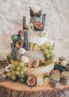 Cheese Stack Tower Cake Fruit Chutney Log Stand Natural Earthy Greenery Home Mad. - Cheese and wine - Chutney, Antipasto, Cheddar, Cheese Tower, Cheese Bar, Fall Wedding Cakes, Cheese Wedding Cakes, Cheese Cakes, Cheese Table Wedding