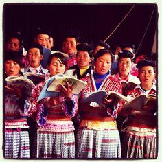 The Miao people singing in church.