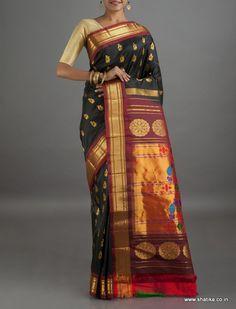 Swetha Artistic Peacock Motifs #PureZari #PaithaniSilkSaree