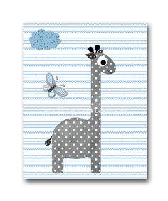 Giraffe Nursery Baby Boy Nursery Decor Baby by artbynataera, $14.00