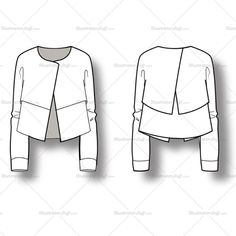 Women's Asymmetric Jacket Fashion Flat Vector Template