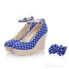 Cute blue polka dot wedges