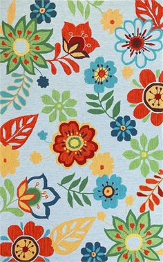 Light Blue Retro Floral Rug.  How fun would this be for a jumping off inspiration point for a playroom?  So many fun colors to work with.