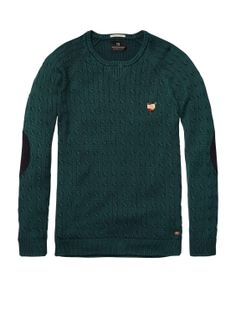 High Twist Crew Neck Pull With Elbow Patches > Mens Clothing > Pullovers at Scotch & Soda