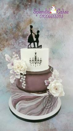 Marble engagement cake by Reham