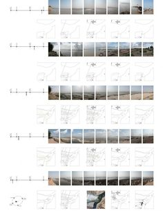 "Kumbh Mela: A Temporary (But Not Instant) City for 2 Million | Anthony Acciavatti ""Triveni Sangam: Celestial-Terrestrial Microcosm, 2006."" The photographic panoramas show the same point at different times of the year, marked on the timelines to the left. From left to right, the maps below each panorama show the cultivated land, roads, the location of settlements and the location of people at that time of year. The middle map of each row is a summation of all four aspects."