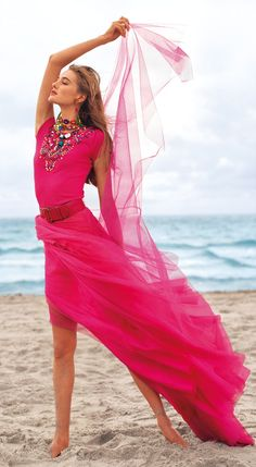 Ralph Lauren Collection Spring 2015: Vivid fuchsia evening wear constructed from airy tulle makes a daring statement