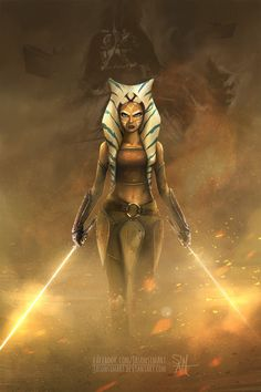 "One of my favorite Star Wars character, Ahsoka Tano  When she left the Jedi order Anakin was still ""himself"" and she kinda learn/feel the ""truth"" at some point, years later when facing Va..."