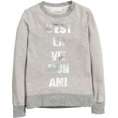 H&M Print sweatshirt (€20) ❤ liked on Polyvore featuring tops, hoodies, sweatshirts, light grey, sweat tops, print top, long sleeve cotton tops, h&m и pattern tops