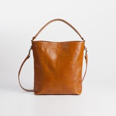 MOLLY Brown Leather Tote - Custom Made - Natural leather tote auf Etsy, CHF 238.35