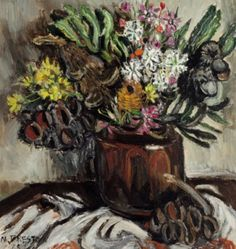 MARGARET PRESTON (1875-1963)  Banksia 1955 oil on canvas on composition board 46.0 x 44.0 cm signed and dated lower left: M. PRESTON/ -55