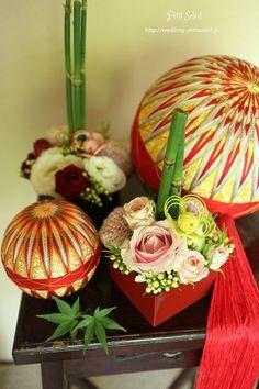 和のテーブル装花