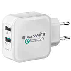 [Qualcomm Certified] BlitzWolf® BW-S2QC QC2.0+2.4A 30W Dual USB EU Charger Adapter With Power3S Tech