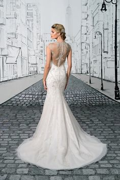 Justin Alexander  Allover Beaded Fit and Flare Gown with Beaded Illusion Back