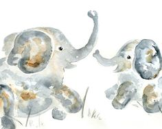 "Elephant painting, Nursery Art Print, gift for new mom, baby elephant art, Elephant Nursery Decor, Children's decor - ""Trunk Puffs""  8x10"