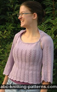 ABC Knitting Patterns - Vine Lace Summer Top with I-Cord Finish.