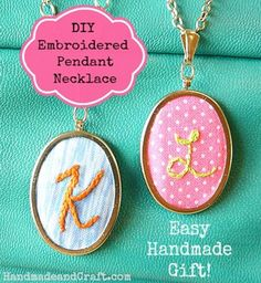 Embroidered Pendant Necklace - Handmade Gift