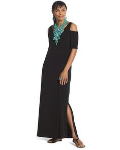a656dbd80da9f0 Chico s women s black cold shoulder maxi dress size 1 Small short sleeve  1086  Chicos