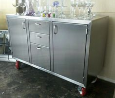 Stainless steel credenza by AMFKStainlessSteel on Etsy, $2,000.00