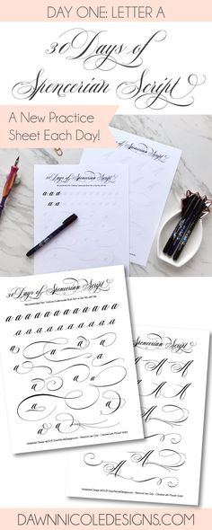 Spencerian Script Style: Letter A Worksheets. This post is part of the 30 Days of Spencerian Script Style Worksheets series. I'm posting a new free Spencerian Style Practice Worksheet every day for thirty days!