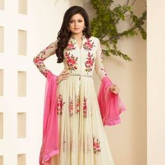 Cream Pink Party Wear Salwar Kameez