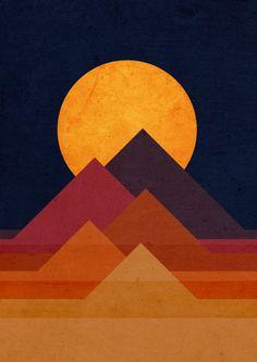 Full moon and pyramid Art Print