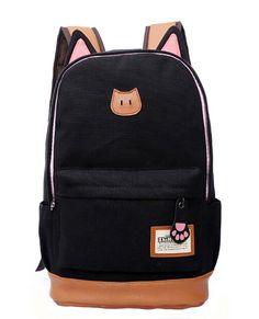 17 euros Moolecole Cat Orejas Lienzo Mochila Escolar Mochila (Negro): Amazon.es: Equipaje Retro Backpack, Backpack Travel Bag, Backpack Brands, Laptop Backpack, Fashion Backpack, Travel Bags, Animal Print Backpacks, Girl Backpacks, School Backpacks