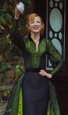 Sandy Powell (Costume Designer) Custom Made Green and Black Dress as seen on Lady Tremaine in Cinderella | TheTake.com