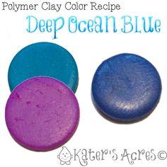 Polymer Clay Color Recipe Deep Ocean Blue  Peacock Pearl and Purple pearl ~ Polymer Clay Color Mix