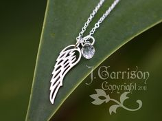 I want this for my angel baby, Winged Necklace  Sterling silver angel wing by WinterberryJewelry, $32.00