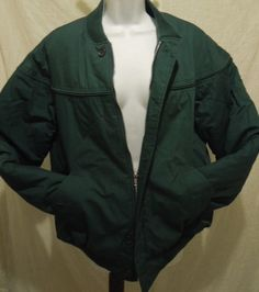 Great gift for dad! Mens Coat Sz M EAGLES RIDGE OUTFITTERS Green Zip Front  Button Pockets Quilted #EaglesRidgeOutfitters #