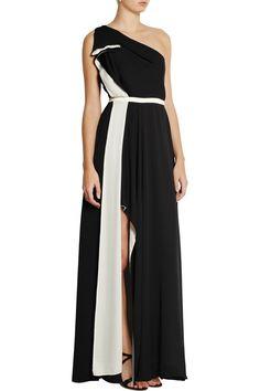 Halston Heritage One-shoulder satin gownfront