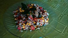 Pinto wok de, arroz yamani +pollo + berenjena + choclo + tomate + zapallito verde. Condimentado con, perejil fresco, sal marina, pimienta, comino y oliva.👌👌👌👌