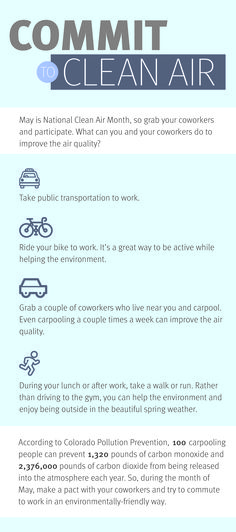 May is National Clean Air Month, so grab your coworkers and participate. What can you do to improve air quality?