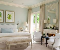Interiors Etc. Details: Calm, Cool and Tranquil. Love the wall color & the overall feel of the room