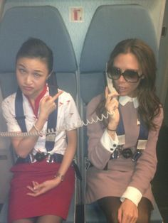 Is Victoria Beckham THE Chicest Air Stewardess? VB wears her own creation on a flight to Bejing