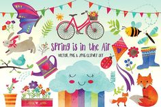 Spring Is In The Air Clipart by Red Bird Graphics on @creativemarket
