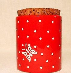 Waechtersbach Ceramic Canister Red Polka Dot Butterfly Great Pre-Owned Condition