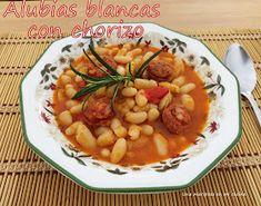 Una mariposa en mi cocina: Alubias blancas con chorizo Tapas, Chana Masala, Ethnic Recipes, Food, White Beans, Casseroles, Crock Pot, Vegetables, Eten