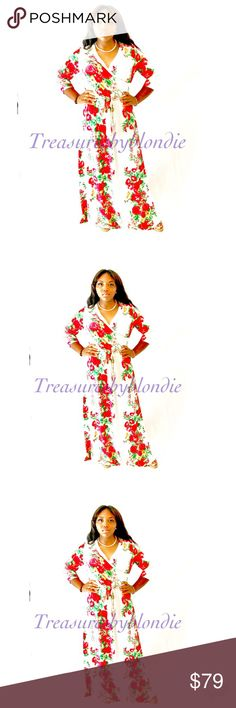 New😘💕Curvy Diva Floral Maxi Wrap Dress Take their breath away with this beautiful plus size dress. Features a stunning rose print fabric that keeps all eyes on you. Made with a chic surplice neckline, 3/4 sleeves, long flowy skirt, and self-tie belt.   Price Firm.  Bundle to Save😘  - 95%polyester 5%spandex  - Hand Wash Cold  - Imported  MODEL  - Model is wearing size 1X - Model is 5'7 Quum Dresses Maxi